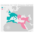 map of the division of the roman empire vector image