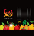 menu for juice and fresh juice from various fruits vector image vector image