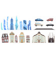 modern and old city buildings set town vector image