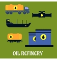 Oil storage and transportation icons vector image