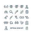optical signs black thin line icon set vector image vector image