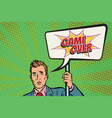 protester businessman with a poster game over vector image vector image
