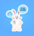 rabbit with stay home chat bubble speech happy vector image vector image