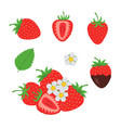 red berry strawberry and a half of strawberry set vector image vector image