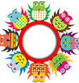 Round frame with cartoon owls vector image vector image