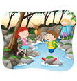 scene with kids in the forest vector image vector image