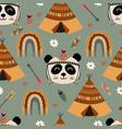 seamless pattern with tribal panda rainbow vector image vector image
