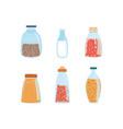 set of different glass bottles vector image