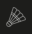 shuttlecock icon on black background vector image vector image