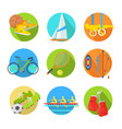 sports flat icons collection vector image vector image