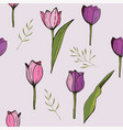 square frame with tulips and herbs on white vector image vector image