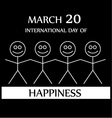Stick figures holding hands to show happiness vector image vector image