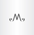 stylized m letter logo m icon black symbol vector image vector image