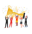 team colleagues holding giant golden cup trophy vector image