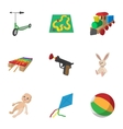Toys kid icons set cartoon style vector image vector image