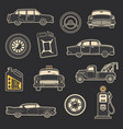 transportation vehicle and service vintage icons vector image vector image