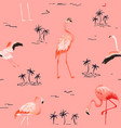 tropical flamingo palms seamless summer pattern vector image