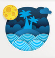 tropical storm in the ocean with big waves in vector image vector image