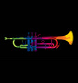 trumpet instrument cartoon music graphic vector image vector image