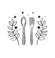 vintage boho fork and spoon icon with floral vector image