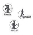 run club logo set with man and woman silhouettes vector image