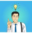 pop art comic happy smiling businessman Light bulb vector image