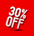 30 off thirty percent discount symbol on red vector image vector image