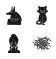 anubis cat and other web icon in black style vector image vector image