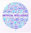 artificial intelligence concept in circle vector image vector image