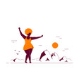 attractive woman plus size dancing on beach vector image vector image