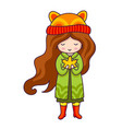 autumn girl hand drawn little girl with maple vector image vector image