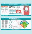 baseball ticket modern design ball bat vector image