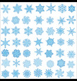 big set of snowflakes holiday collection blue vector image