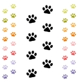 black and colorful animal footprints vector image
