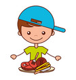 boy with meat french fries tomato vector image vector image