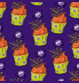 bright seamless pattern with cupcakes spiders vector image vector image