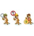 Brown Meerkat Mascot with money vector image vector image