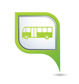 bus icon on green map pointer vector image vector image