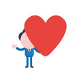 businessman character holding heart vector image