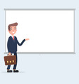 businessman making a presentation pointing to the vector image vector image