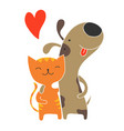 cat and dog friendship vector image