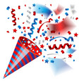colorful party popper for independence of usa vector image vector image