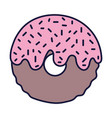 donut glazed chips sweet cartoon icon style design vector image vector image