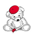 drawing teddy bear with book color vector image vector image