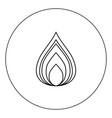 fire icon black color in circle isolated vector image