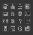 flat icons set business office tools outline vector image