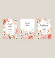 floral autumn wedding invite card template set vector image vector image