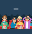 funny characters watching scary movie in cinema vector image