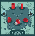 gas color isometric concept icons vector image vector image