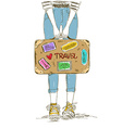 Girl holding travel suitcase vector image